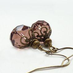 Plum Beaded Earrings, Antique Rose, Bronze Vintage Style Dangles, Retro Earrings, Wedding Jewelry, Bridal Earrings