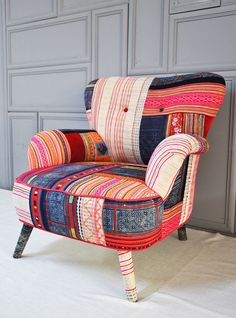 Thai Hmong patchwork armchair by namedesignstudio on Etsy from name design studio. Saved to Furniture Love. Funky Furniture, Classic Furniture, Unique Furniture, Furniture Design, Chair Upholstery, Upholstered Furniture, Chair Cushions, Patchwork Chair, Chair Design