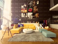 yellow sofa with tan walls | ... Yellow And Blue Sofa And Rounded White Table Also Laminate Floor With