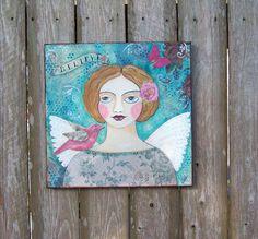 Folk Art Angel Original Encaustic Painting  Believe by Debidoodah, $75.00