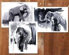 Elephant Painting Set of 3 11x14 elephant decor by TheCeruleanRoom, $90.00