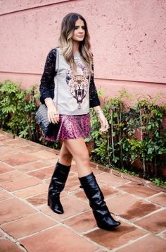 fashion blogger Thássia Naves wears Luiza Barcelos' column boots