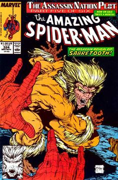 The Amazing Spider-Man #324, 1989 comic book covers Marvel Sabertooth villian foe