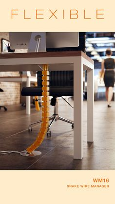 Hide your cables with simple cable management solutions. Wire Management, Cable Management, Standing Desk Height, Pixel Animation, Sit Stand Desk, Cable Wire, Work Surface, Library Ideas, Game Room