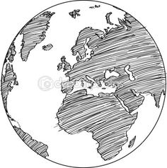 World Map Earth Globe Vector line Sketched Up Illustrator, EPS 10. — Stock Vector © ohmega1982 #35193233