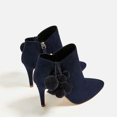LEATHER HIGH HEEL ANKLE BOOTS WITH POMPOMS-View All-SHOES-WOMAN-SALE | ZARA United States