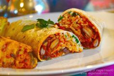 Vegie Head Mexi-rice and Bean Burritos with Spicy Sweet Potatoes... - Vegie Head