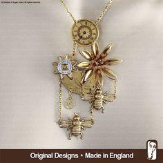 Watch Parts Gears Bee Necklace  Steampunk Pendant by SugarJonesUK, £110.00