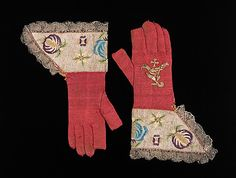 "17th century Spanish liturgical gloves: ""Liturgical gloves are traditionally made of silk knit and embellished with gold metallic embroidery. Worn by Roman Catholic bishops and cardinals during pontifical masses, i.e., those celebrated by the bishop, their color corresponds to the color of vestments worn during the course of the liturgical year."" (The Metropolitan Museum of Art)"