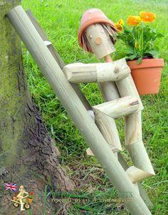wooden garden man plant pot - Google Search