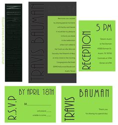 Specialty Double Layer Invitation. Base layer Black Plike with tone on tone printing. Top layer Lime Neon Vellum with black thermography. Accessories - Lime Neon Vellum with black thermography printing.