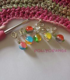 Marbles  set of  six resin bead stitch markers by Pollyorange, £5.50