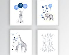 Custom Color, Baby Boy Nursery Art, Set of 4 Canvases, Nursery Wall Hanging, Safari Theme, Boys Room, Quote, Moon and Back - S420
