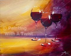 "Wine Lovers Tripletts 2 - ""Group-on and Move On!!"" - Miami, FL Painting Class - Painting with a Twist"