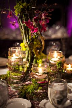 Enchanted Forest theme - pretty tablecentres #privateparties #birthdayparties