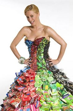 RECYCLED DRESS- It's made from recycled cans, bottle tops, cardboard packaging, glass beads and plastic bags... what is it? It's the amazing recycled dress designed by ethical fashion designer Gary Harvey!