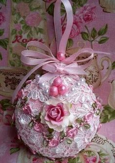 Shabby Sugared Pink Christmas Ornament Venise Lace, Pink Roses and Pearls Shabby Chic Christmas Decorations, Pink Christmas Ornaments, Handmade Christmas, Christmas Diy, Cottage Christmas, Victorian Christmas, Christmas Crafts, Ornaments Ideas, Beaded Ornaments