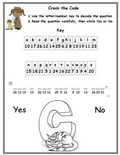 Freebie! This is a phonics cryptogram puzzle. In this activity, students will use a letter/number key to crack the code of an encrypted question with CVC words. After decoding the question, they will read it for comprehension and circle 'Yes' or 'No' for their answer. Graphics from www.mycutegraphic...