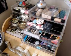 Beauty Storage #3  - See through boxes - find what you're looking for easily.
