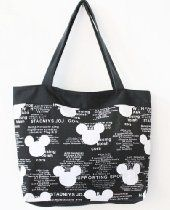 "Canvas Disney Mickey Mouse head handbag purse sack Bag tote 15"" 38cm black & white middle size"