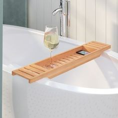 Extra Off on Bamboo Bath Caddy Rebrilliant - Price Check bathroom furniture Bathtub Shelf, Bathtub Caddy, Bathtub Shower, Steam Showers Bathroom, Brown Bathroom, Simple Bathroom, Bathroom Sets, Bathroom Faucets, Bubble Bath Homemade