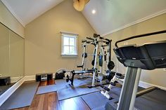 Home gym exercise room on pinterest home gym design for Creative home designs llc