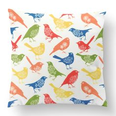 Custom Outdoor The Birds Cushion The Birds Item# Polyester Cover Polyester Fill Multi Custom Outdoor Cushions, Fill, Birds, Shapes, Texture, Cover, Unique, Prints, Design