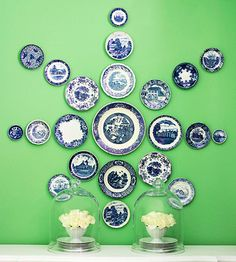 On the Wall - love this for displaying plates. The starburst pattern is different and more fun than rows of plates.