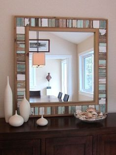 This Large reclaimed wooden frame mirror is made from reclaimed wood from old beach houses along Florida coastlines. It measures 36 x Mirror size is 24 x A great addition to any home or office. Perfect for beach theme decor. Very well constructed Reclaimed Wood Mirror, Reclaimed Wood Projects, Beachy Room, Pinterest Home, Beach Cottage Decor, Diy Furniture, Furniture Design, Decoration, Palette
