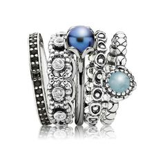 Pandora ring stack. I don't particularly rate the blue bulky ones, but I have the one in the middle of the two, and quite like the two far left.