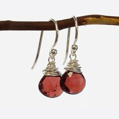 Garnet Wire Earrings