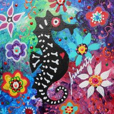 Seahorse Day Of The Dead Painting   www.casitassayulita.com