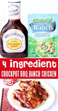 Ranch Chicken Recipes, Easy Crockpot Chicken, Crockpot Dishes, Crock Pot Cooking, Barbecue Chicken, Slow Cooker Chicken Bbq, Healthy Crockpot Chicken Recipes, Healthy Crock Pots, Chicken Ranch Tacos