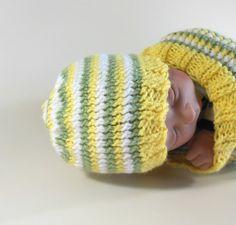 Knit Beanie Newborn Size in Yellow, Green, & White Stripes $12 USD  www.HeavenBoundHCA.com