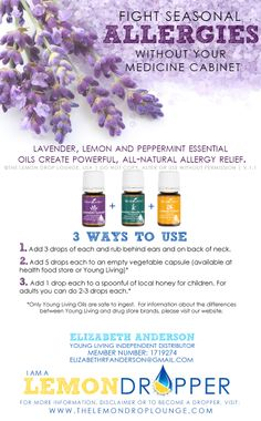 Allergy Trio: Young Living Essential Oils: Lemon, Lavender and Peppermint - LOVE!