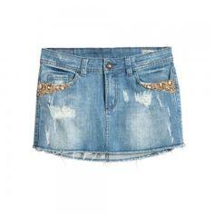 BO.BÔ BELLE SKIRT Saia jeans com bordado de pedra