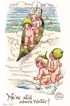 We're Still Above Water IThe Gumnut Babies as drawn by May Gibbs, Australian author and illustrator Australian Native Flowers, Australian Artists, Botanical Tattoo, Botanical Prints, Baby Tattoos, Vintage Artwork, Vintage Prints, Flower Fairies, Children's Book Illustration
