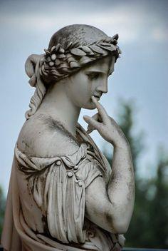 Remarkable fine art in the Emperor's palace of Achilleion, Corfu/Kerkyra Jun Ancient Greek Sculpture, Ancient Greek Art, Greek Statues, Angel Statues, Renaissance, Roman Sculpture, Stone Statues, Roman Art, Classical Art