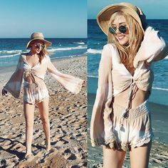 Get this look: http://lb.nu/look/8665319  More looks by Suzy: http://lb.nu/thekawaiiplanet  Items in this look:  Missguided Mirror Sunnies, Winston White Tie Dye Romper, Hat Attack Straw Hat   #bohemian #chic #romantic #beachday #lookbook #beachbabe #florida #beach #floridafashion