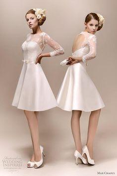 Los #vestidos de #novia cortos prometen ser un boom del 2013!!! Este modelo a la rodilla con lazo y encaje es una variante #moderna de un modelo #clásico, para marcarlo!!