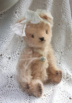 "Items similar to SOLD. Sample of work. Vintage Looking Mohair Artist Teddy Bear ""Forget me Not"". on Etsy"