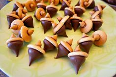 "Fall Food: ""acorns"" made with mini nilla wafers and chocolate kisses"