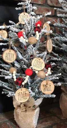 Excited to share this item from my shop: Rae dunn inspired christmas ornaments, gift, wood slice ornaments christmascraftshow Rustic Christmas Ornaments, Christmas Balls, Christmas Time, Christmas Wreaths, Ornaments Ideas, Homemade Ornaments, Wood Ornaments, Christmas Craft Show, Christmas Music