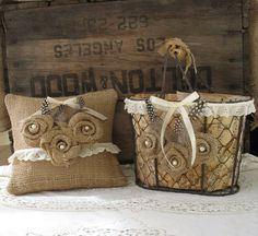 Burlap flower girl basket and ring bearer pillow