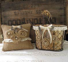 Flower Girl Basket Ring Bearer Pillow set Shabby Chic Wedding, Rustic Wedding.