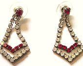 Vintage-Rhinestones-Red-Clear-Pierced Earrings-Posts-Rhinestone Earrings