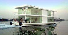 Afbeeldingsresultaat voor modern houseboat