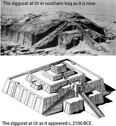 ziggurat z Ur (rekonstrukcja i stan w czasie odkrycia)