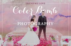 Wedding photos are the first activityyou do as a newlywed couple. This is a time for you and the love of your life to display your affection for one another, make lasting memories, and have fun! Want to add some vibrancyto your photos? Color bomb photography is your answer!For some vivid inspiration, take a look at the photos below or check out our Pinterest page! For more up-to-date trends, DIY tips, and wedding inspiration, browse through our latest editionof Get Married Away!