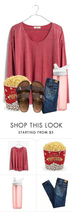 """""""I need one more person in my group"""" by ellisonharris ❤ liked on Polyvore featuring Madewell, West Bend, CamelBak, American Eagle Outfitters and Birkenstock"""